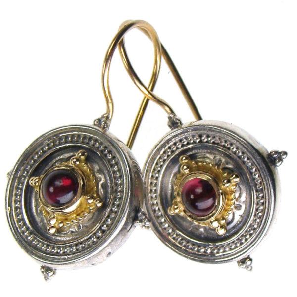 "Gerochristo Solid 18K Gold & Sterling Silver Byzantine Hook Drop Earrings <div class=""description productGridProductTeaser""></div>"