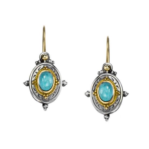 Gerochristo Solid 18K Gold, Silver & Spinel - Medieval Drop Earrings