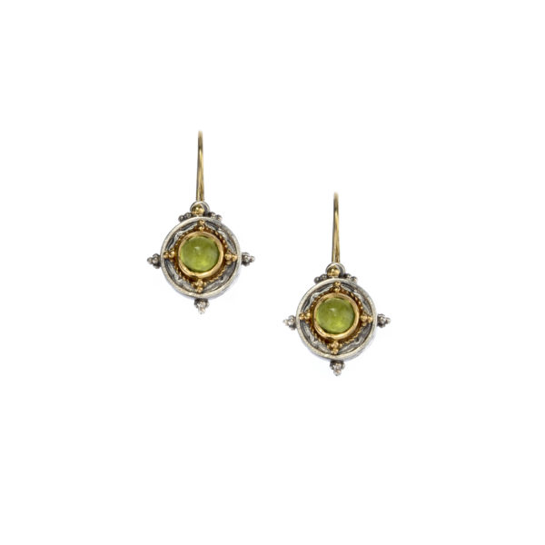 Solid 18K Gold & Sterling Silver Medieval-Byzantine Drop Earrings