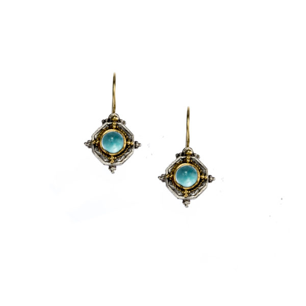 Silver 925 and 18K Gold, handmade, Byzantine earrings with Blue Topaz by Gerochristo.