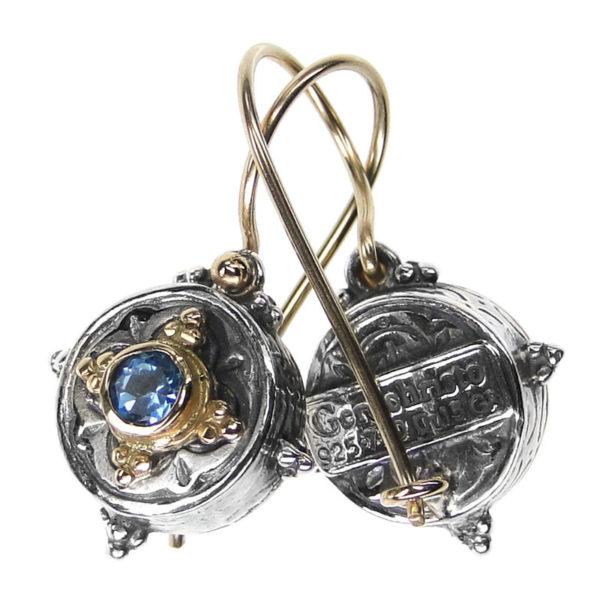 Gerochristo Solid 18K Gold, Sterling Silver & Zircon - Medieval Byzantine Drop Earrings
