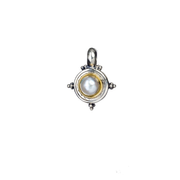 Silver 925 and 18K Gold, handmade, Byzantine pendant with pearl by Gerochristo.