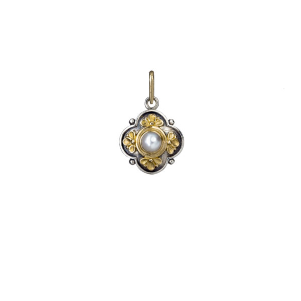 Solid 18K Gold, Silver & Stone - Medieval Byzantine Pendant