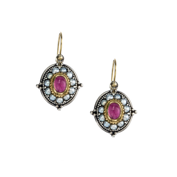 Solid 18K Gold, Silver & Pearls Medieval-Byzantine Earrings