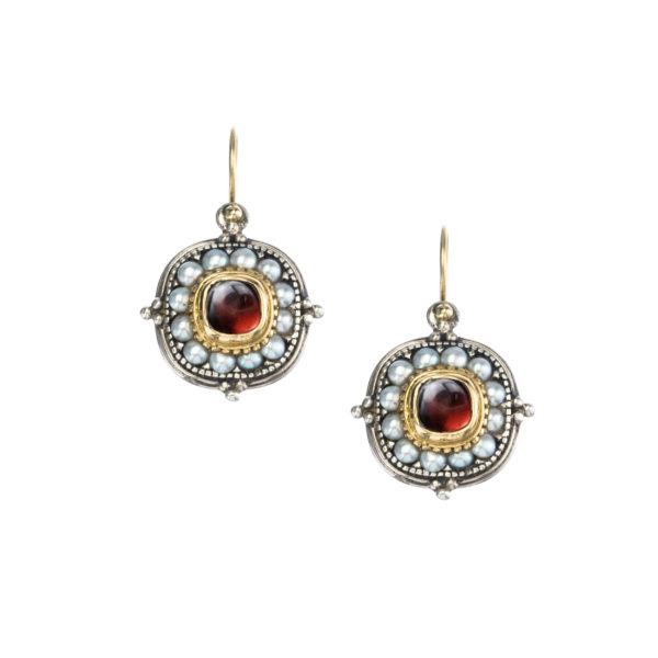 Solid 18K Gold, Silver & Pearls Medieval-Byzantine Ornate Earrings
