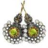 Gerochristo Solid 18K Gold, Silver & Pearls Medieval Byzantine Earrings