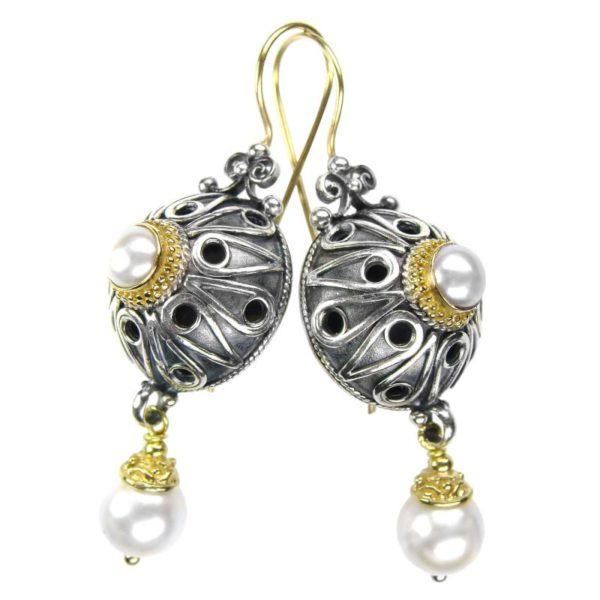 Gerochristo Solid 18K Gold, Silver & Pearls - Medieval Byzantine Earrings