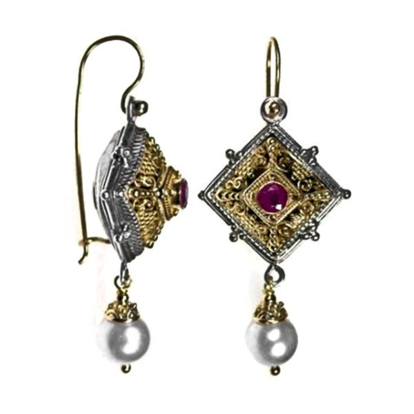 Solid 18K Gold, Sterling Silver and Gemstones Byzantine Medieval Long Earrings