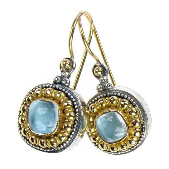 Gerochristo Solid 18K Gold & Silver Byzantine Drop Earrings