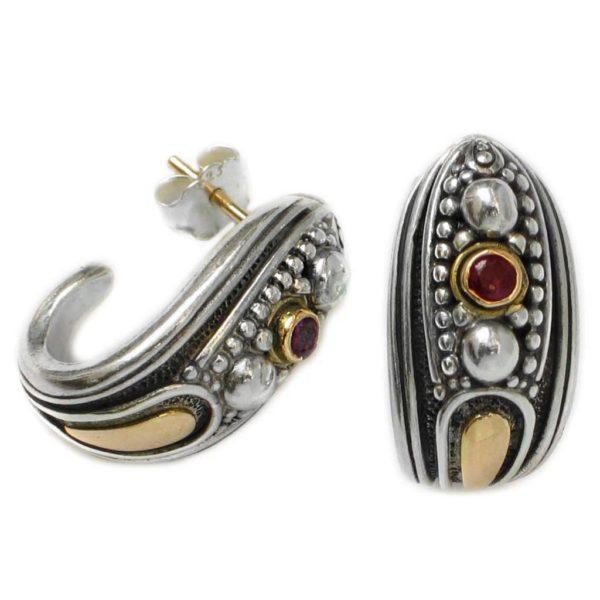 GerochristoSolid 18K Gold, Sterling Silver and Rubies Medieval-Byzantine Half Hoop Earrings