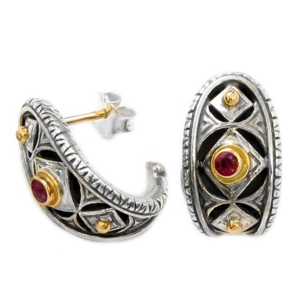 Gerochristo Solid 18K Gold, Silver & Rubies Medieval-Byzantine Half Hoop Earrings
