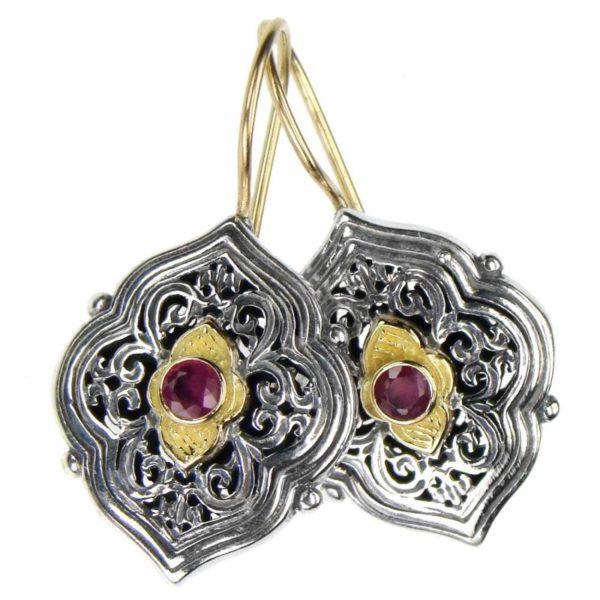 Gerochristo Solid 18K Gold & Sterling Silver Medieval - Byzantine Earrings