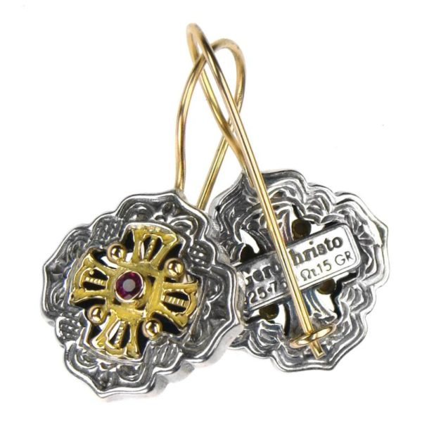 Gerochristo Solid 18K Gold and Sterling Silver Medieval - Byzantine Earrings