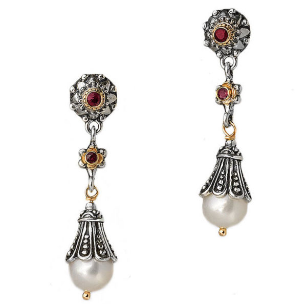 GerochristoSolid 18K Gold and Sterling Silver long drop earrings decorated with rubies and pearls