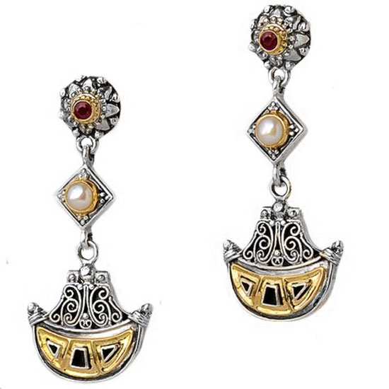 Gerochristo Solid 18K Gold and Sterling Silver long dangle earrings decorated with rubies and pearls