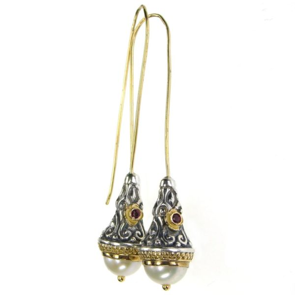 Gerochristo ByzantineSolid 18K Gold & Sterling Silver Long Earrings, decorated with freshwater pearls and rubies