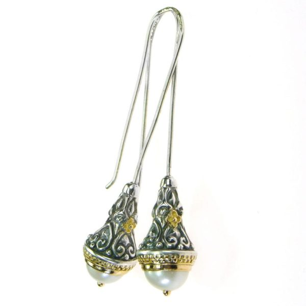 Gerochristo Byzantine Solid 18K Gold & Sterling Silver Long Drop Earrings, decorated with freshwater pearls