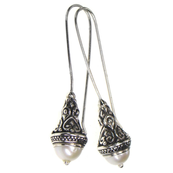 GerochristoSterling Silver Long Drop Earrings, decorated with freshwater pearls.