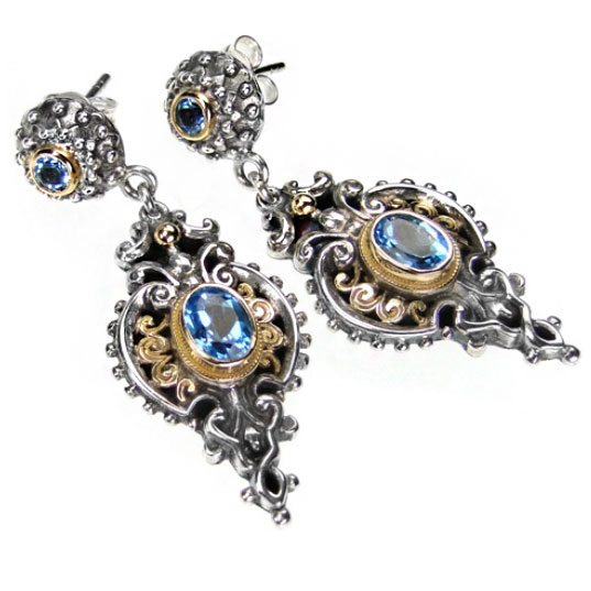 "Gerochristo 18K Gold, Sterling Silver & Faceted Blue Topaz Medieval-Byzantine Long Dangle Earrings <div class=""description productGridProductTeaser""></div>"