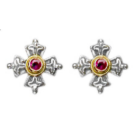 Gerochristo Solid 18K Goldand Sterling Silver cross stud earrings decorated with rubies