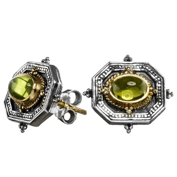Gerochristo Solid 18K Gold, Sterling Silver Byzantine Medieval Stud Earrings