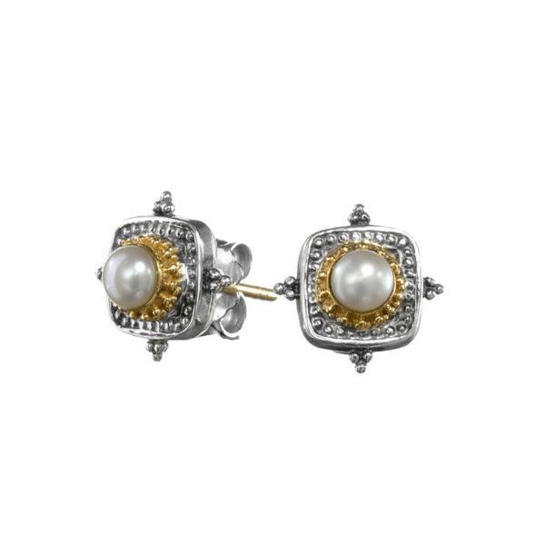 Gerochristo Solid 18K Gold & Sterling Silver Byzantine Medieval Stud Earrings
