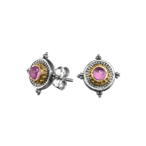 Gerochristo Solid 18K Gold & Sterling Silver Byzantine Medieval Stud Earrings