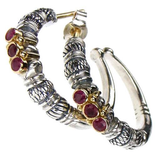 Gerochristo Solid 18K Gold, Sterling Silver & Rubies Medieval-Byzantine Open Hoop Earrings