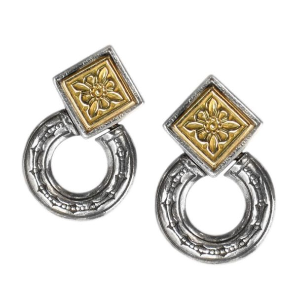 Gerochristo Solid 18K Gold & Sterling Silver Byzantine Medieval Earrings