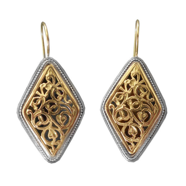 Gerochristo Solid 18K Gold & Silver Medieval-Byzantine Drop Earrings