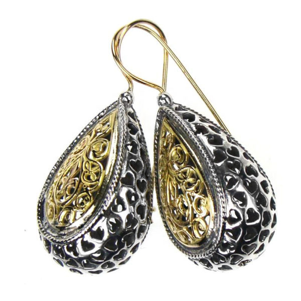 """Gerochristo Solid 18K Gold & Sterling Silver Byzantine Filigree Earrings <div class=""""description productGridProductTeaser""""></div>"""