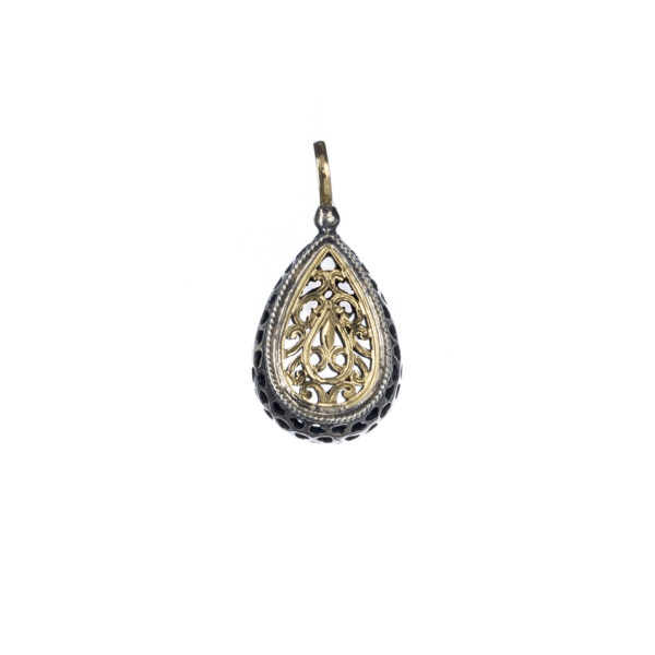 Solid 18K Gold & Sterling Silver - Medieval-Byzantine Filigree Pendant