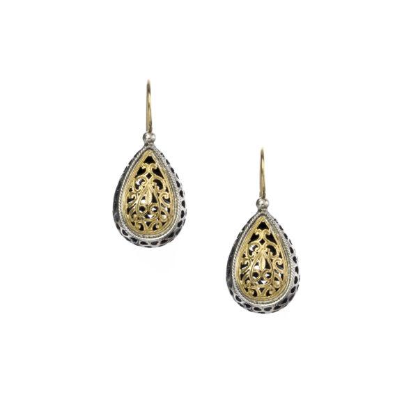 Solid 18K Gold & Sterling Silver - Medieval-Byzantine Filigree Earrings