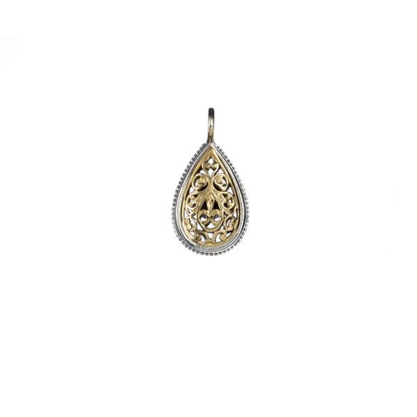 Solid 18K Gold & Sterling Silver - Medieval Byzantine Filigree Pendant
