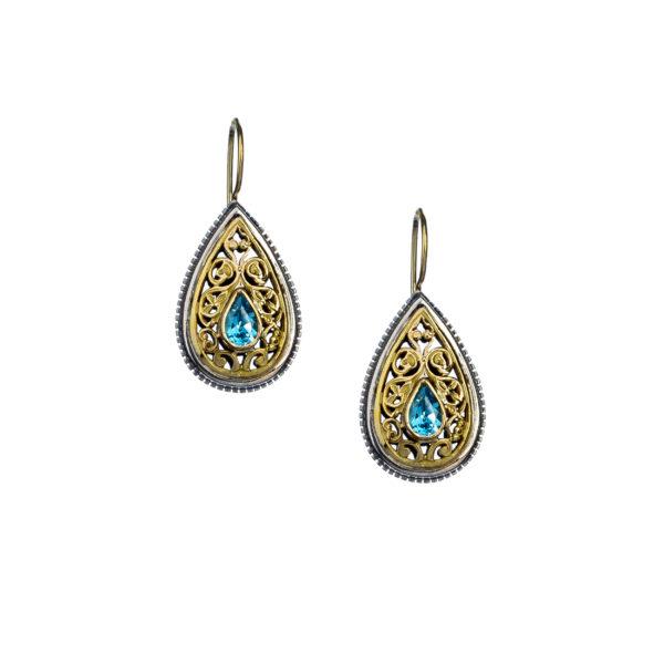 Gerochristo Solid 18K Gold, Silver & blue Topaz Stones - Medieval Byzantine Drop Earrings