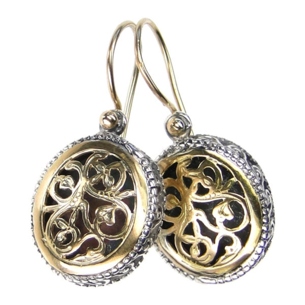 Gerochristo Solid 18K Gold & Sterling Silver - Medieval-Byzantine Filigree Earrings