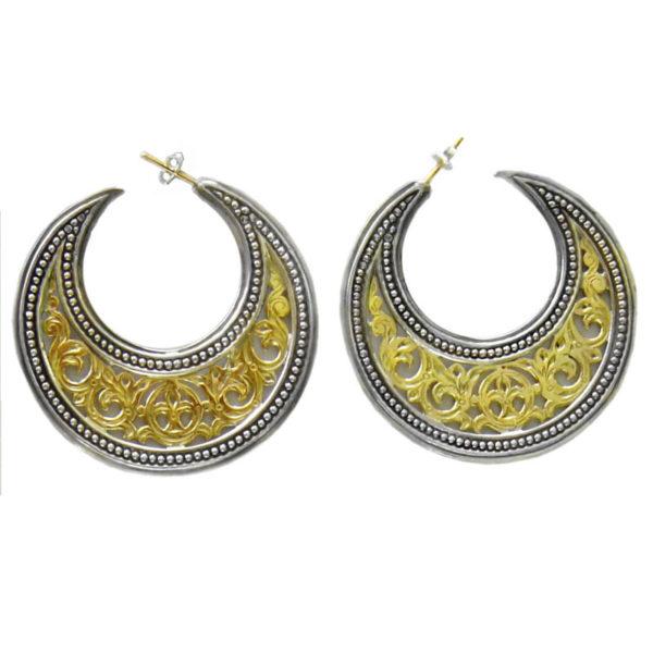 Gerochristo 18K Gold Solid & Sterling Silver Byzantine Crescent shape Half Hoop earrings, in large size