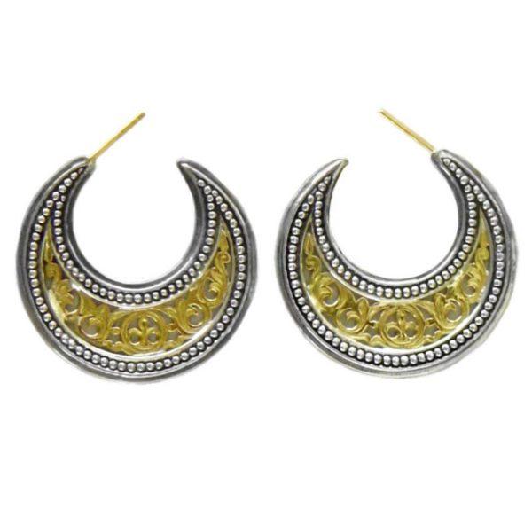 Gerochristo 18K Gold Solid & Sterling Silver Byzantine Crescent shape Half Hoop earrings, in medium size