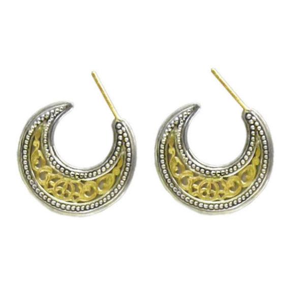 Gerochristo 18K Gold Solid & Sterling Silver Byzantine Crescent shape Half Hoop earrings, in small size