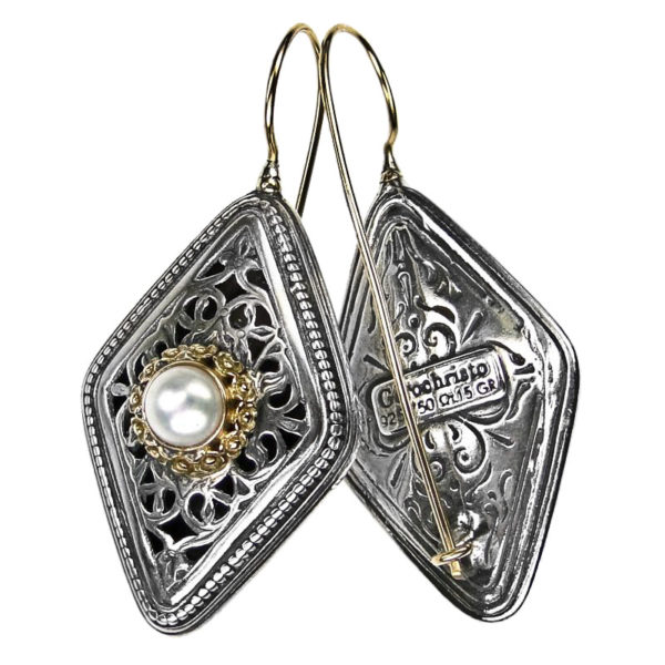 Gerochristo Solid 18K Gold, Sterling Silver & Pearls - Medieval Byzantine Earrings