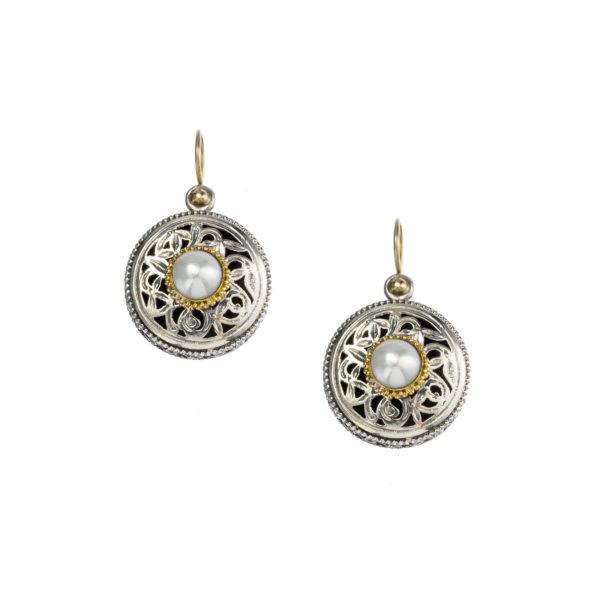 Gerochristo Solid 18K Gold, Silver & Pearls - Medieval Byzantine Drop Hook Earrings
