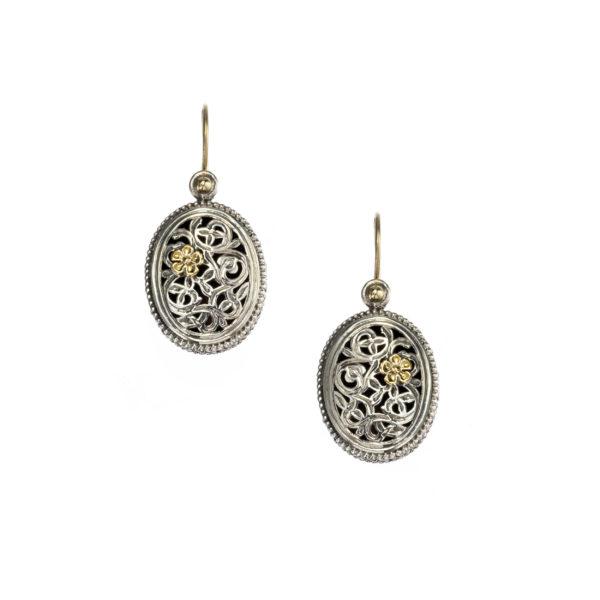 Gerochristo Solid 18K Gold & Sterling Silver Filigree Drop Earrings