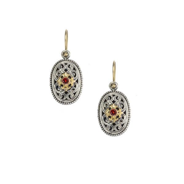 Handmade Silver and 18K Gold Ruby, Gerochristo earrings.