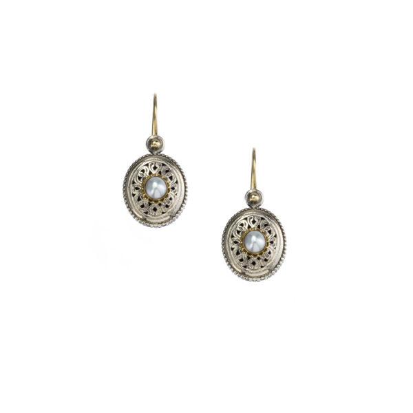 Gerochristo Solid 18K Gold, Silver & Pearls - Medieval Byzantine Filigree Earrings
