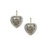 Gerochristo Solid 18K Gold, Sterling Silver & Rubies Heart Earrings in floral filigree motifs