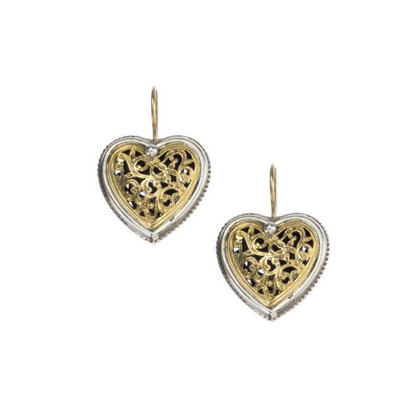 Gerochristo Solid 18k Gold & Silver Heart Earrings in floral filigree motifs