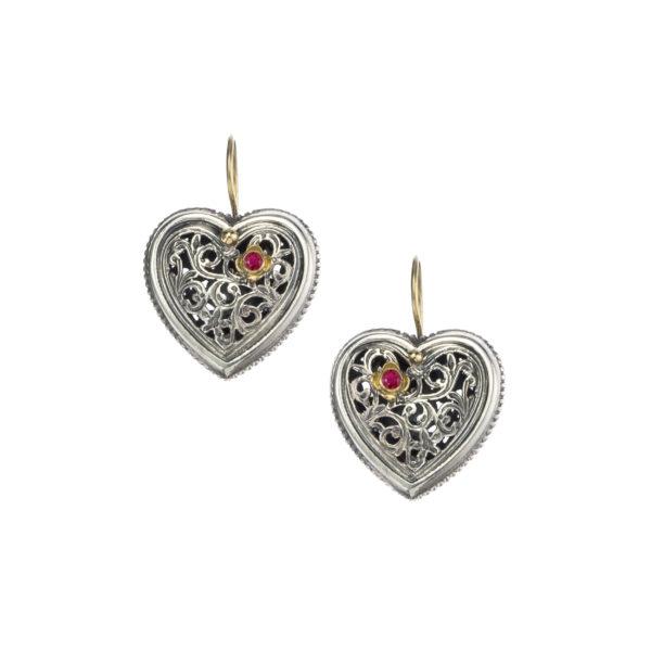 Solid 18K Gold, Sterling Silver & Ruby Filigree Heart Earrings