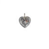 Solid 18K Gold, Sterling Silver & Ruby Filigree Heart Pendant