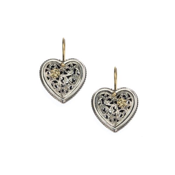 Gerochristo Solid 18K Gold & Sterling Silver Heart Earringsin floral filigree motifs
