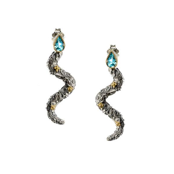 Gerochristo 18K Solid Gold & Sterling Silver Snake Drop Earrings